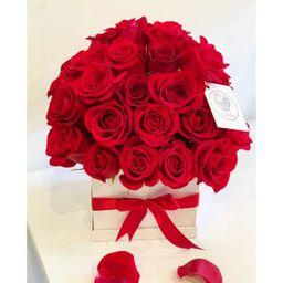 Caja blanca 40 rosas rojas