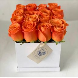 Caja cuadrada blanca 16 rosas salmón
