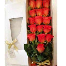 Caja larga 16 rosas salmón