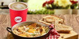 Huevos criollos + arepas +  Bebida Caliente (Latte o TInto)