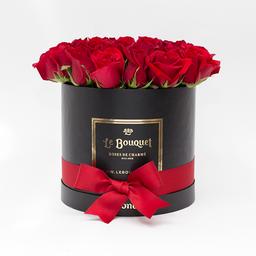 Caja redonda por 20 rosas tradicionales rojas