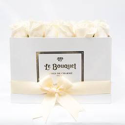 Caja por 36 rosas tradicionales blancas