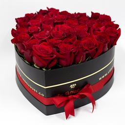 Corazón por 30 rosas tradicionales rojas