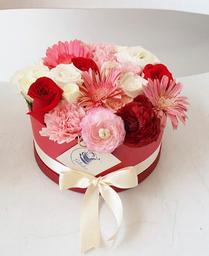 Jardinsito rojo rosado y blanco