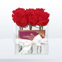 Caja de Cristal en Rosas Rojas
