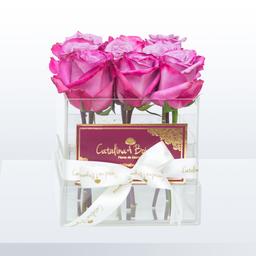 Caja de Cristal en Rosas de Color