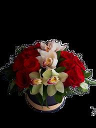 Caja en Rosas y Orquideas