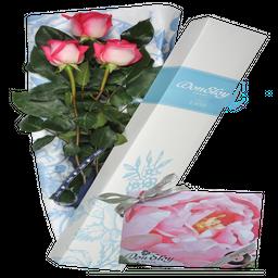 Caja 3 Rosas + Chocolate x 10