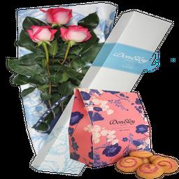 Caja 3 Rosas + Galletas