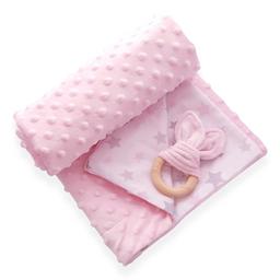 Manta cobija térmica baby wrap rosado /blanco para bebé