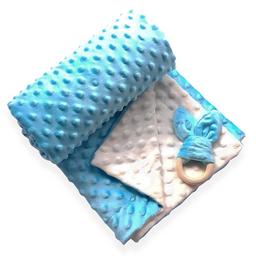 Manta cobija térmica baby wrap azul / beige para bebé