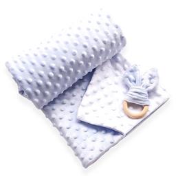 Manta cobija térmica baby wrap azul / blanco para bebé