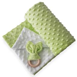 Manta cobija térmica baby wrap verde / blanco para bebé