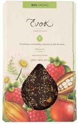 Barra 82% Cacao con Nibs de Cacao, Frambuesa y Manzana