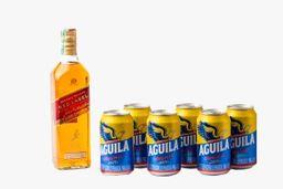 Whisky Red Label 700 ml + 6 Unidades Cerveza Aguila Lata 355 ml