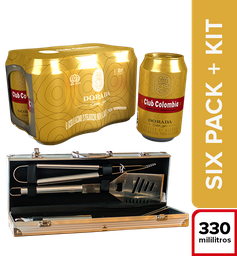 Six Pack Club Colombia Dorada 330 mL + Kit Bbq
