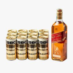 Whisky Red Label 700 ml + 12 U Cerveza Cotidiana 269 ml