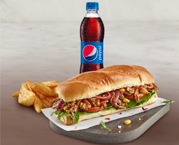 Combo Sandwich Cerdo Bbq + Acompañamiento + Gaseosa Pet 400ml.
