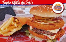 Hamburguesa Triple  Mixta de Pollo