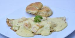 Crepe de Camarones al Ajillo o al Curry