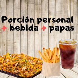 Arroz paisa + Papitas + Limonada
