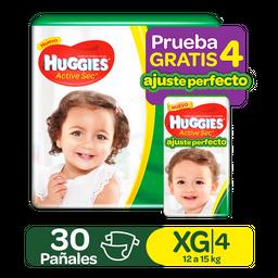 Huggies Active Sec Xg Pqte X 30+4 Ajuste Perfecto