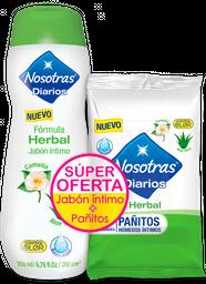 Nosotras Jabón Intimo Herbal + Pañitos Herbal X