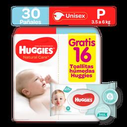 Pañal Huggies Natural Care Etapa 1 30 U + 16 Pañitos Humedas
