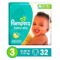 Pañales Pampers Baby-Dry, Desechables, Talla 3, 32 Unidades
