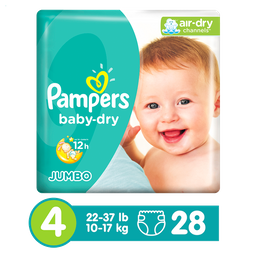 Pañales Pampers Baby-Dry, Desechables, Talla 4, 28 Unidades