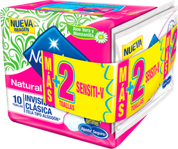 Toal. Hig. Invisible Clásica X10Un + Toalla Sensitiv X2Un