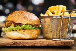 Combo Hamburguesa 150 gr + Tocineta + Papas Francesa + Bebida