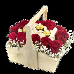 Canasta Con Ramo de 20 Rosas y Chocolates