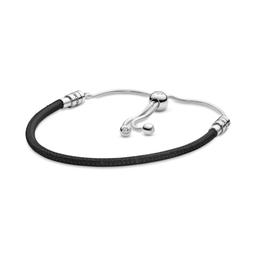 Brazalete Deslizante Pandora Moments de Cuero Negro de 28 cm