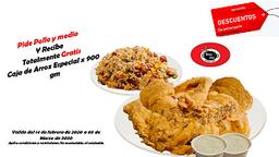 Super promocion!!! pollo y medio + caja de arroz de 900gr 🤤