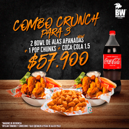 Combo 3 Crunch (2 Alas Apanadas + Pop Chunks + Coca-Cola 1.5L)