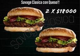 super promo Dos Hamburguesas Savage Clasicas