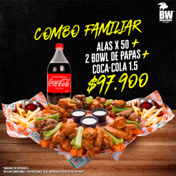 Combo Familiar (Alas o Chunks x 50 + 4 Papas + Coca-Cola 1.5L)