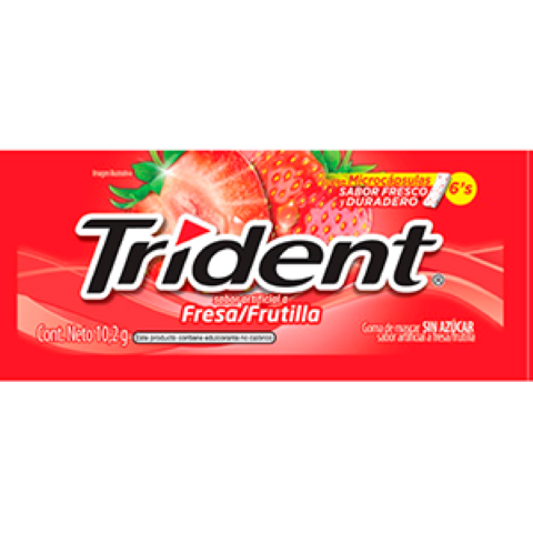 Trident Chicle Sin Azúcar Sabor a Fresa Pack