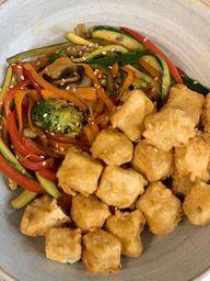 Tofu Apanado con Vegetales