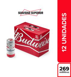 Cerveza  Budweiser  Display X12 Latas 269 Ml