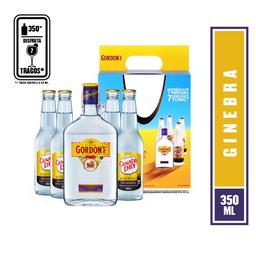 Pack Ginebra London Dry + 4 Tonicas  Gordons  Botella 375 Ml