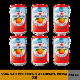 Soda Italiana San Pellegrino Aranciata Rossa 330 mL X 6 U