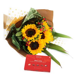 Bouquet de girasoles con chocolates