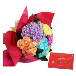 Bouquet de hortensias con chocolates
