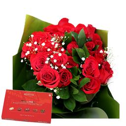 Bouquet de rosas x 12 con chocolates