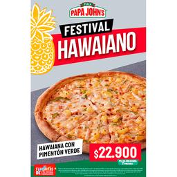 Pizza Mediana Hawaiana con Pimentón Verde