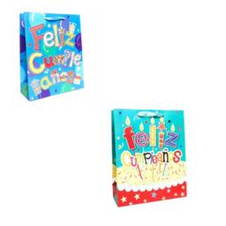 Bolsa de regalo feliz cumpleaños color azul grande