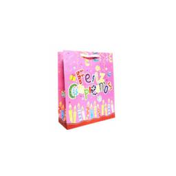 Bolsa de regalo feliz cumpleaños color rosado  grande