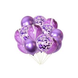 10 globos confeti  y degrade color morado  R12